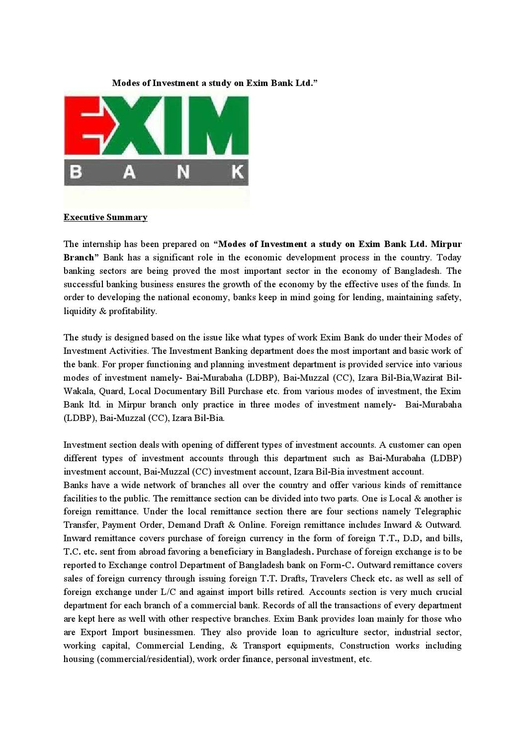 modes of investment a study on exim bank ltd mirpur branch u201d by md