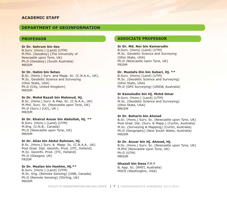 FGHT UTM Undergraduate Handbook 2013/2014 by Universiti Teknologi ...