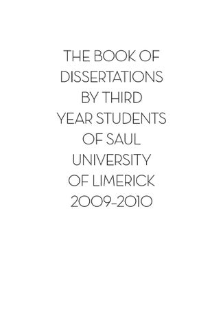 2010 book of third year dissertations saul by saul publications issuu page 1