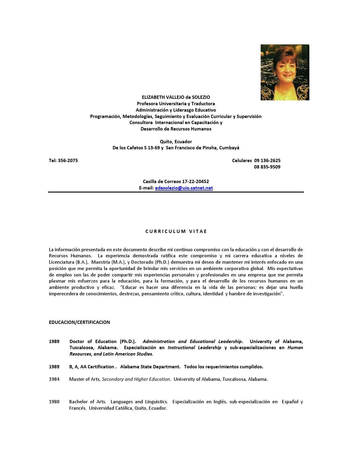 Hoja de vida Elizabeth de Solezio by Consejo Eduacación Superior - issuu
