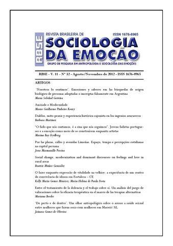 Revista brasileira de sociologia da emoo online v 11 n 32 page 1 fandeluxe Gallery
