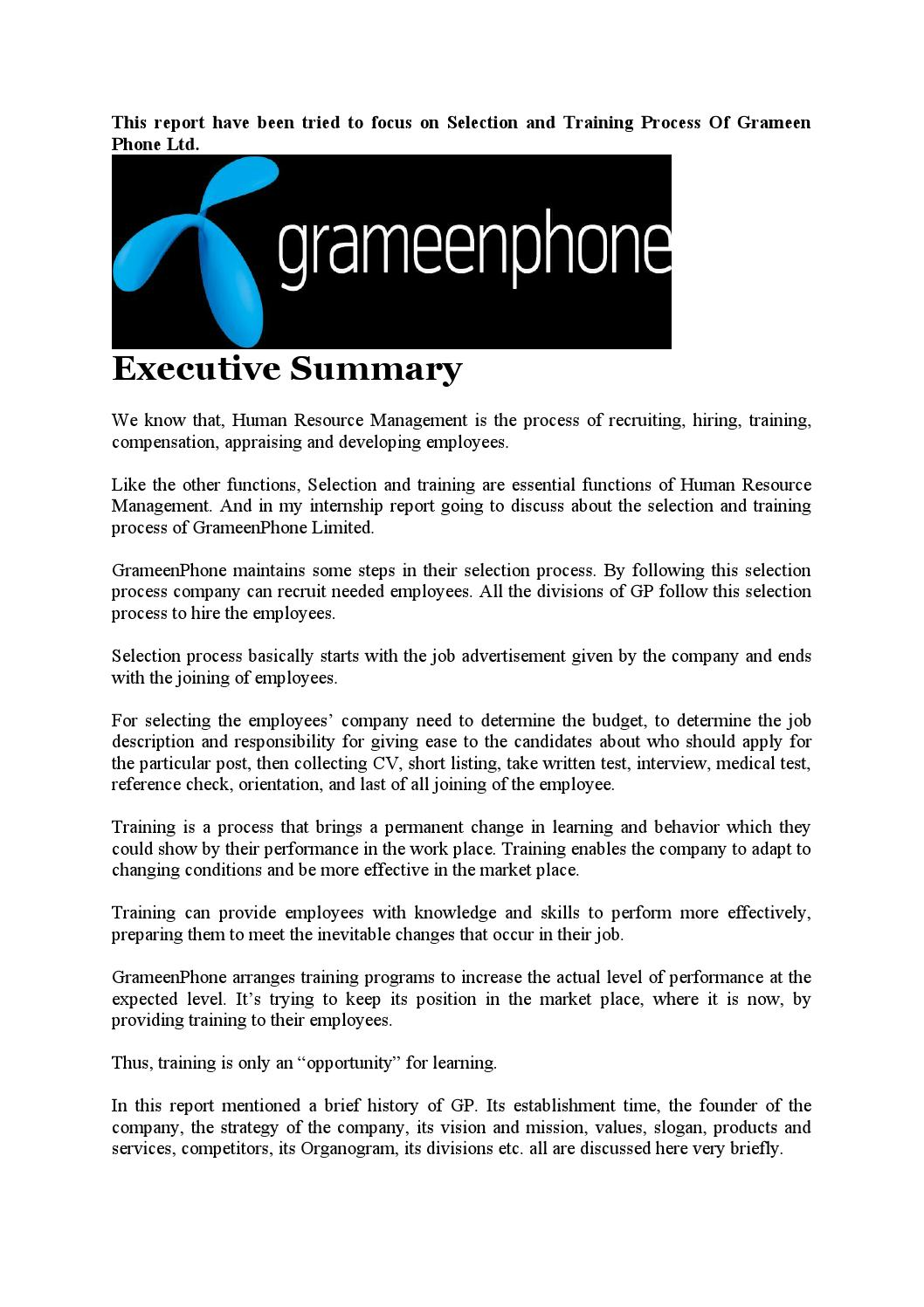 internship report of grameenphone A study on the marketing strategy of grameenphone ltd a study on the marketing strategy of grameenphone ltd submission of internship report for the.