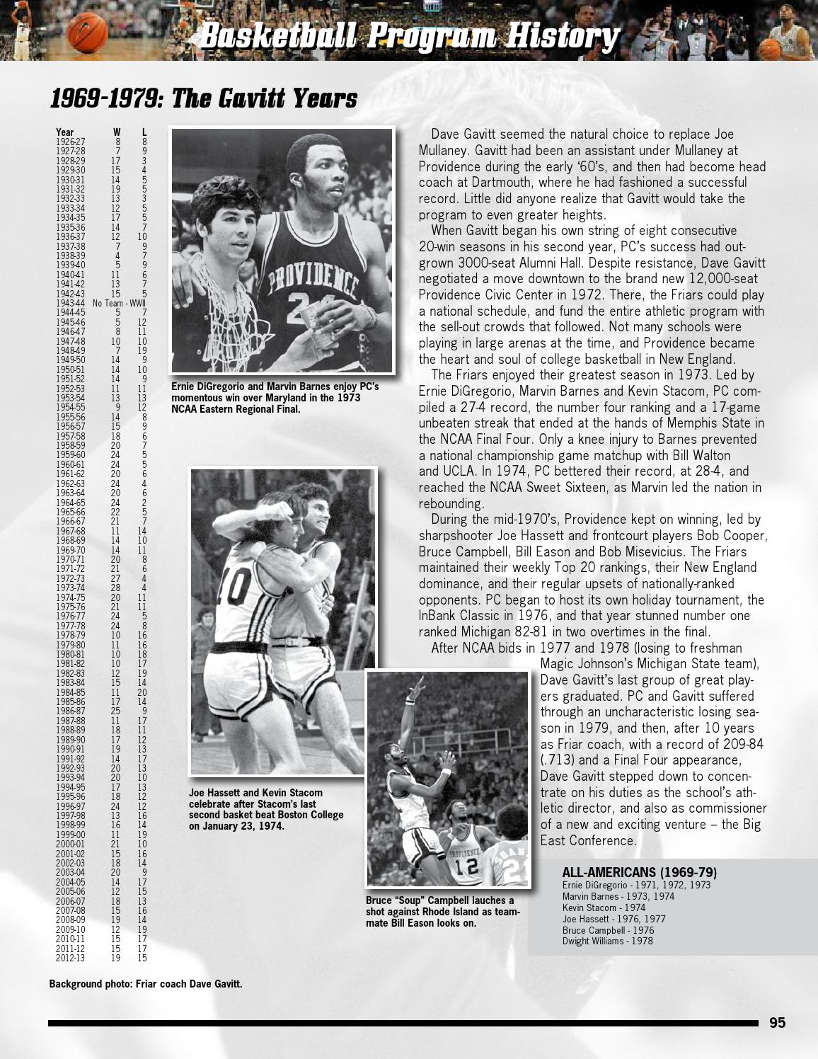 2013 14 Providence College Men s Basketball line Team Guide by
