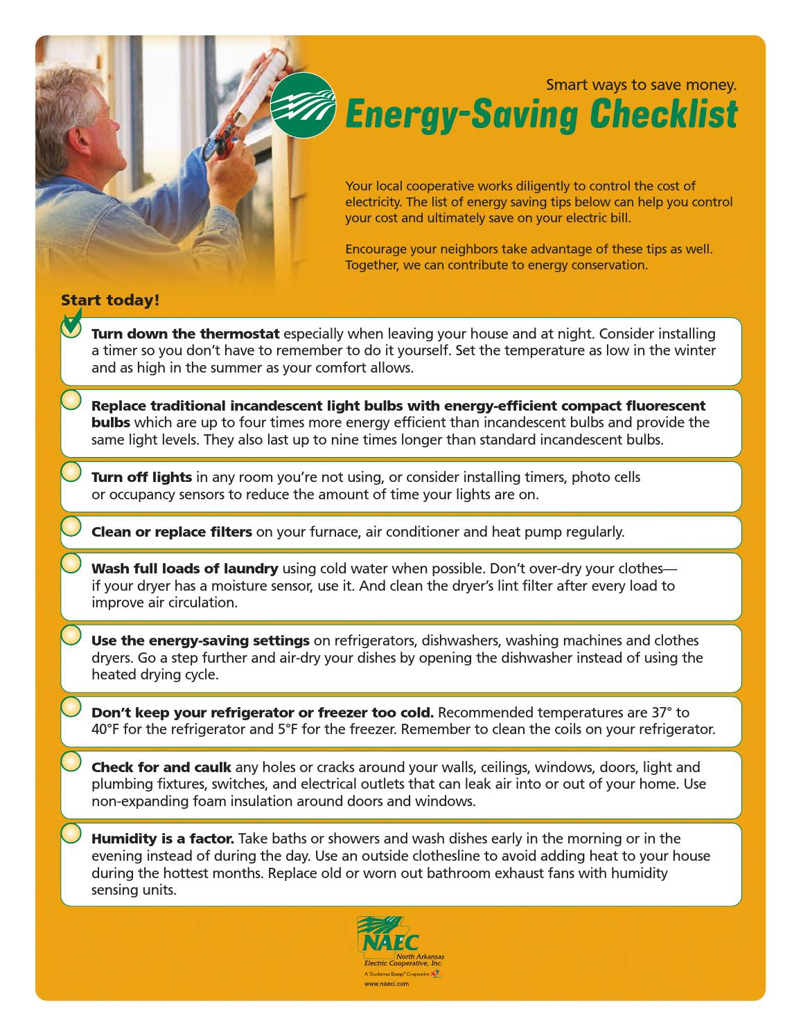 Energy saving checklist by inside information issuu for Energy conservation facts