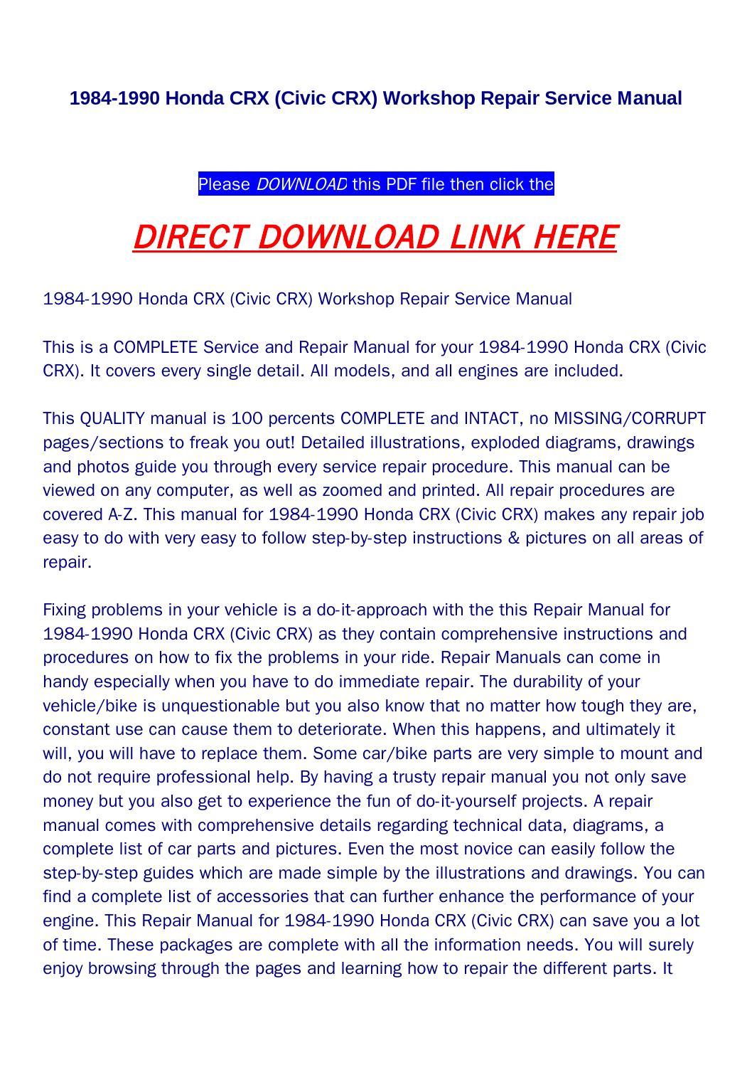 1984 1990 Honda Crx  Civic Crx  Workshop Repair Service Manual By Newton Below