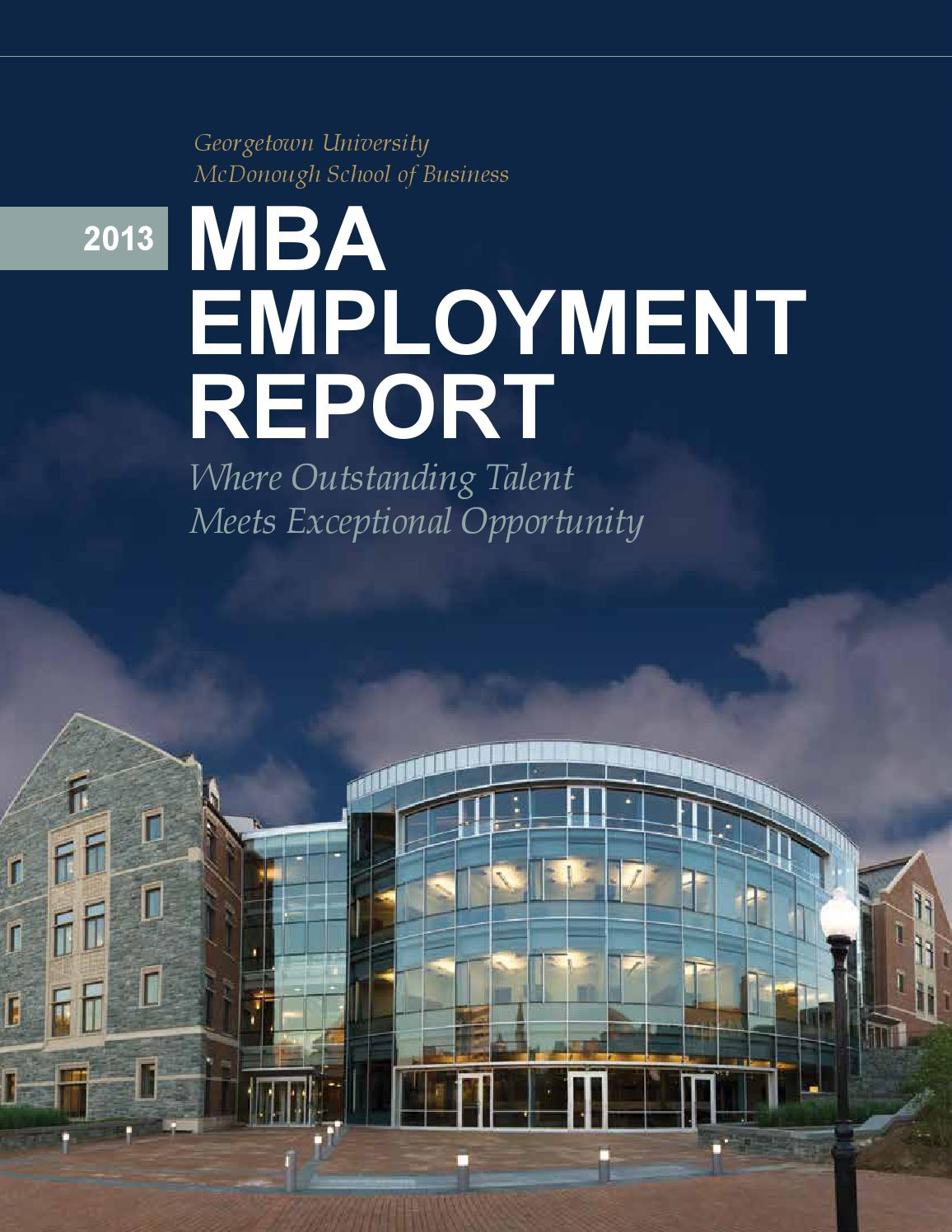 2013 MBA Employment Report by Georgetown University ...
