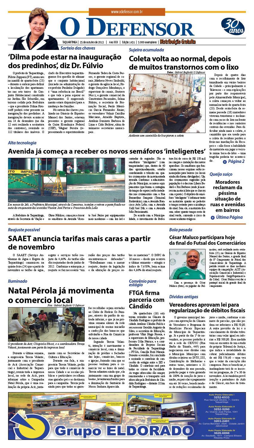 Jornal O Defensor 25 10 2013 by gabriel baglioti - issuu d475b9105ee1b