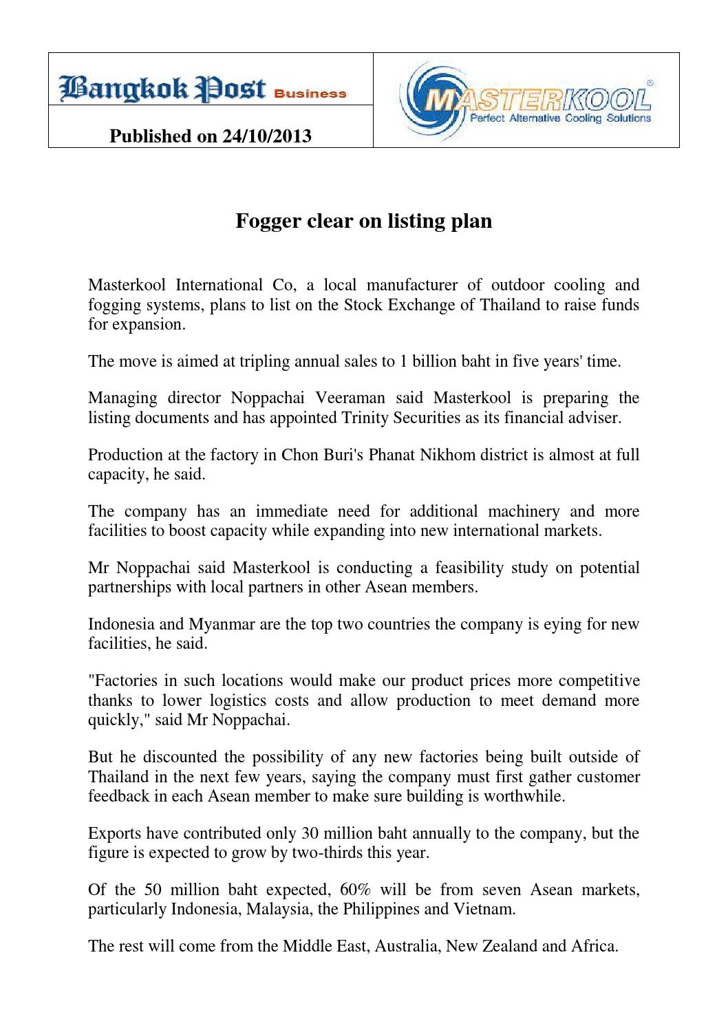 Fogger Clear on Listing Plan by MDA Consulting S E A  - issuu