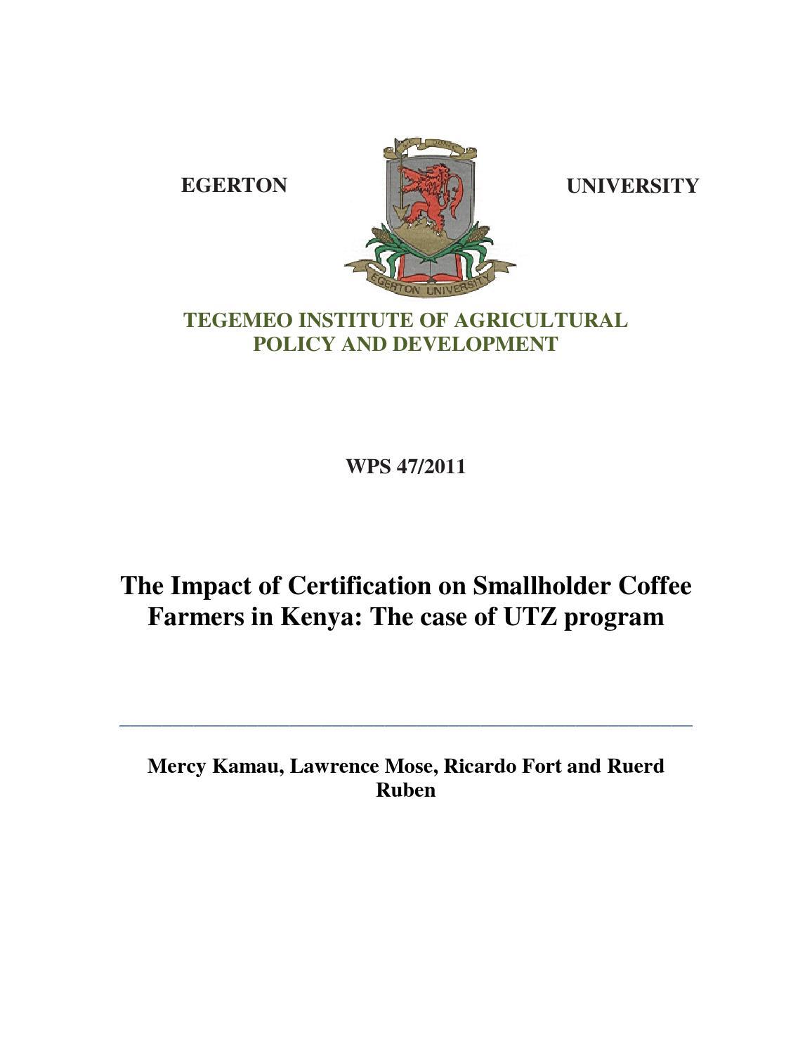 The Impact Of Certification On Smallholder Coffee Farmers In Kenya