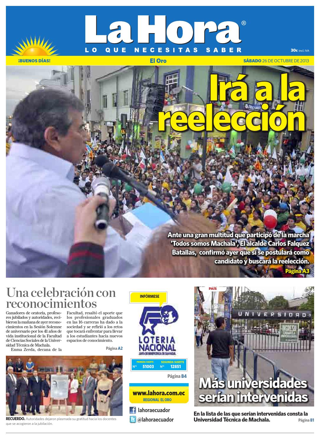 Diario La Hora El Oro 26 de Octubre 2013 by Diario La Hora Ecuador - issuu 9eca968a35fc