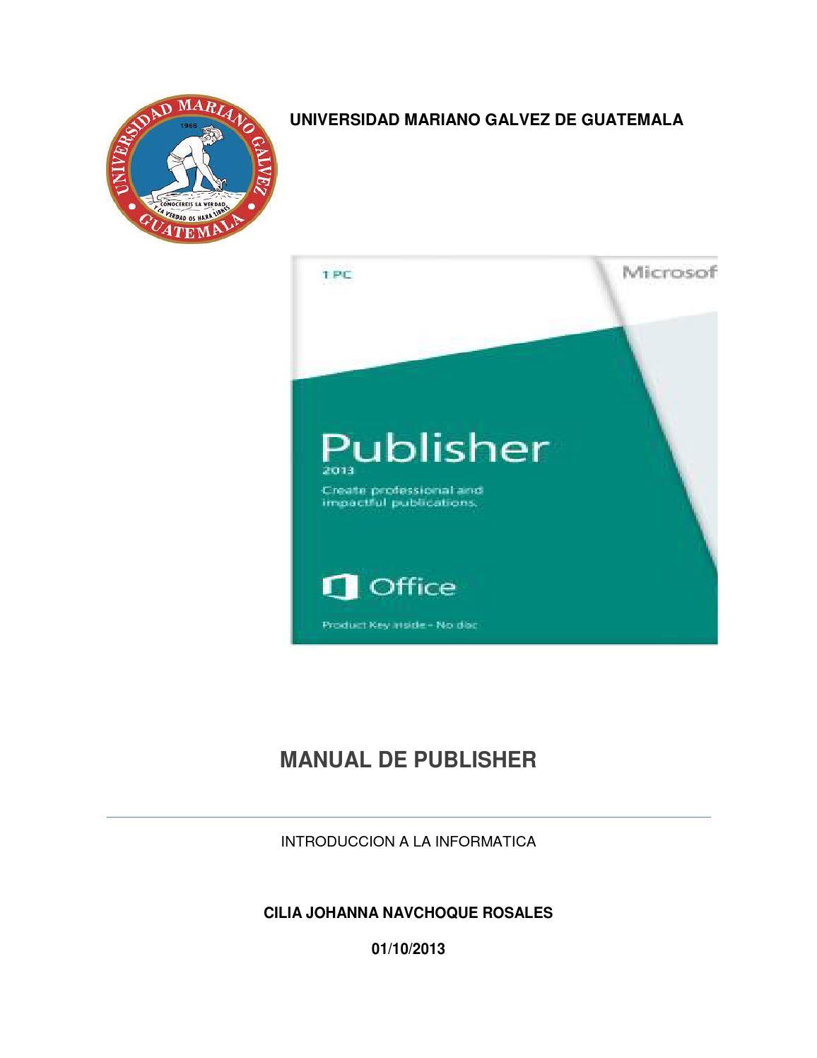 Manual de publisher by Cilia Navichoque - issuu