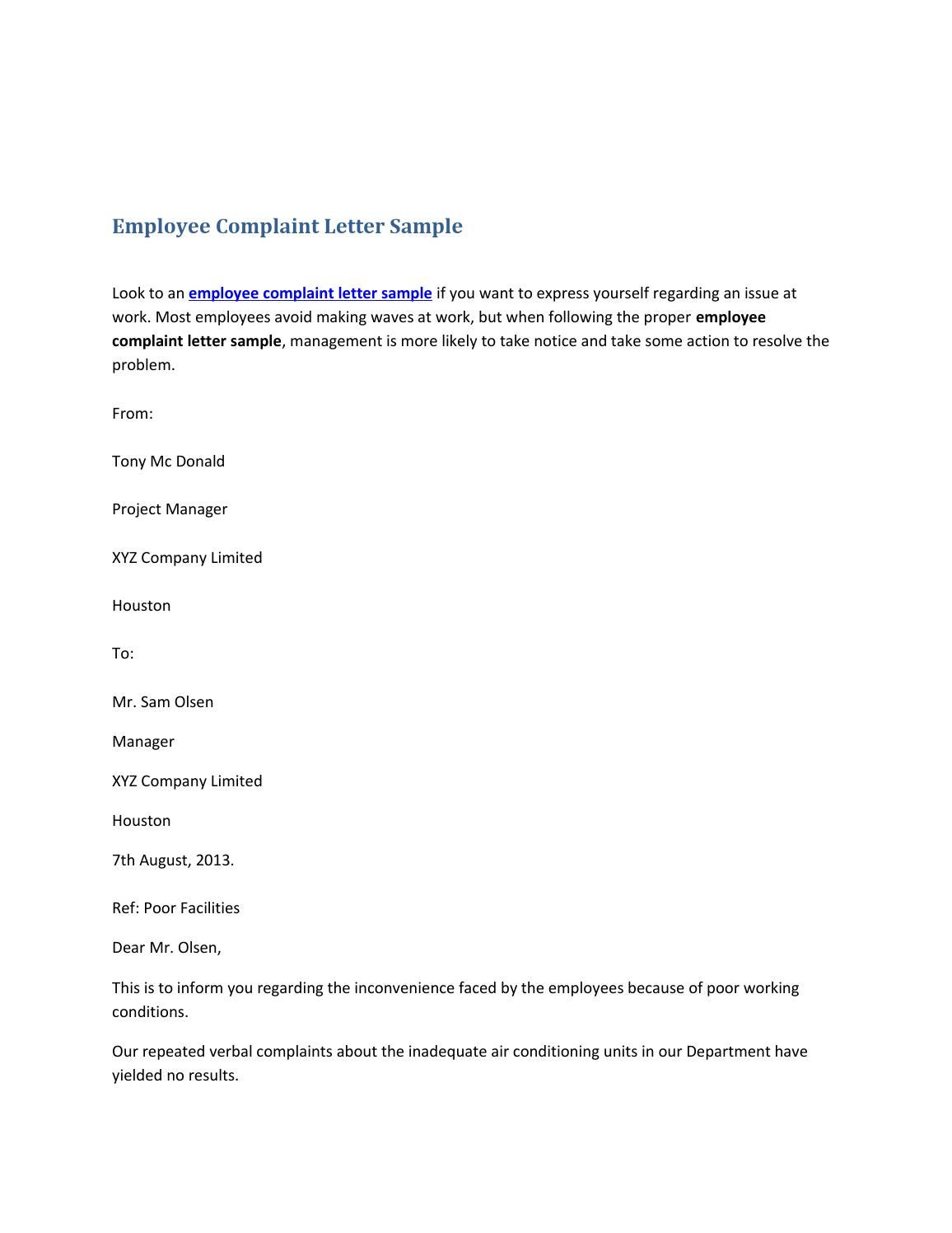 Employee Complaint Letter Sample by Shane Thomas issuu
