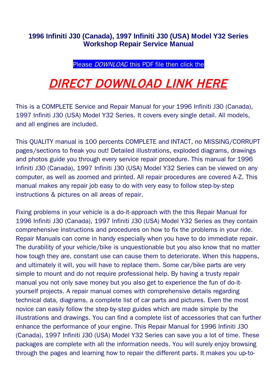 1996 infiniti j30 (canada), 1997 infiniti j30 (usa) model y32 series workshop  repair service manual by Newton Below - issuu