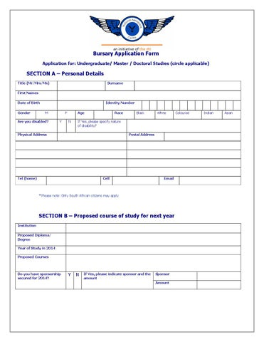 engineering bursary application forms for 2014