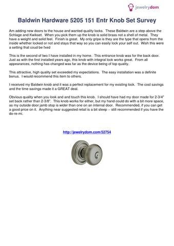 Baldwin Hardware 5205 151 Entr Knob Set Survey 52754 By