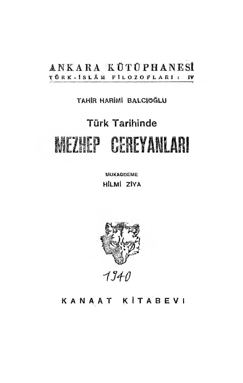 Tahir Harimi Balcıoğlu Türk Tarihinde Mezhep Cereyanları Mukaddeme