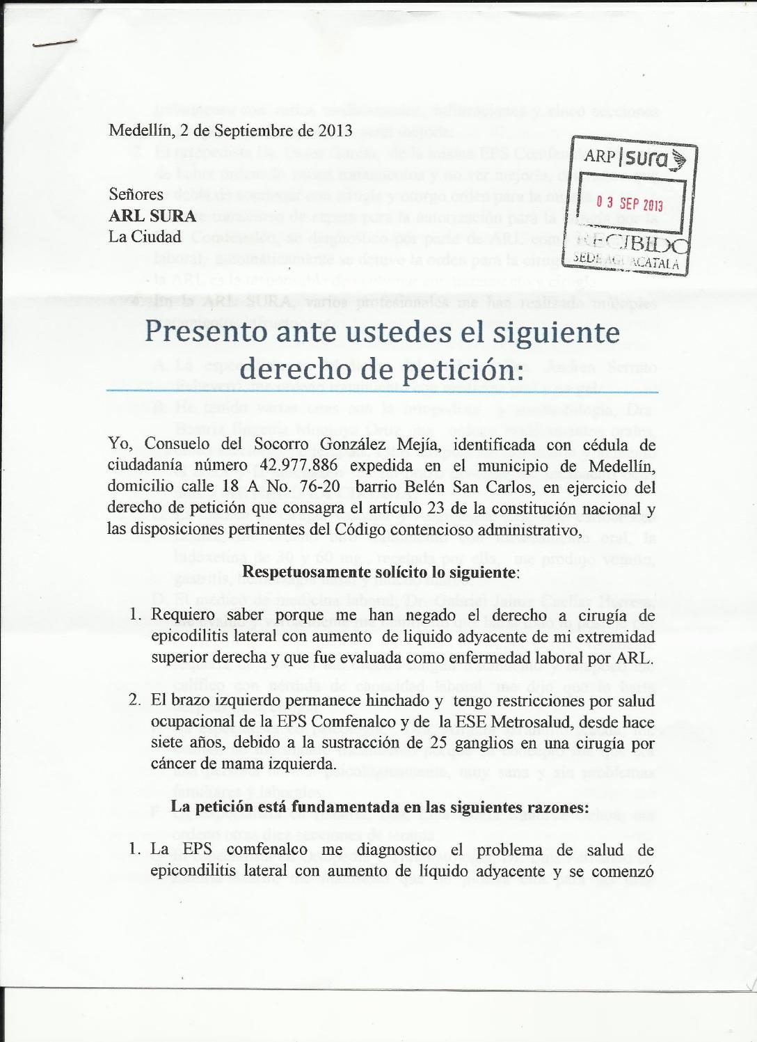 Derecho de peticion a la ARL SURA by juan diego martinez ...