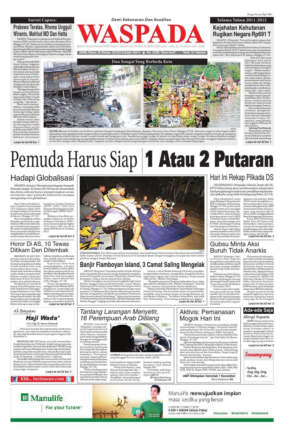 Waspada Senin 29 Oktober 2013 Ok By Harian Issuu Krezi Kamis Jam Tangan Usb Mancis Keren