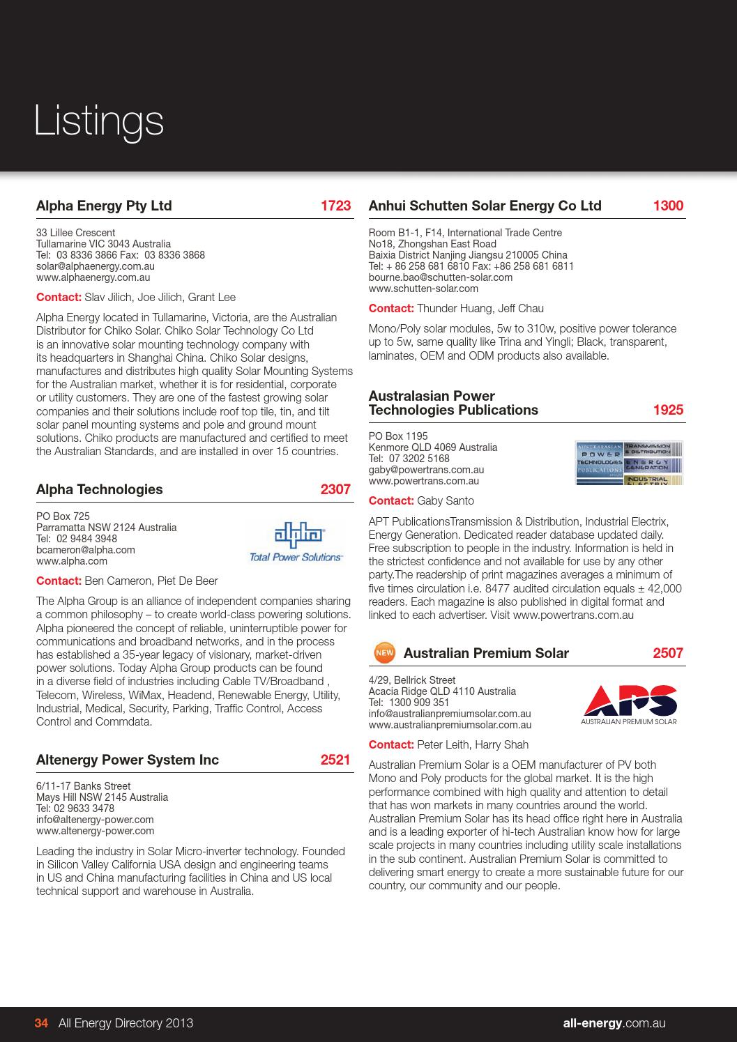All Energy Australia 2013 Exhibition Directory By Reed