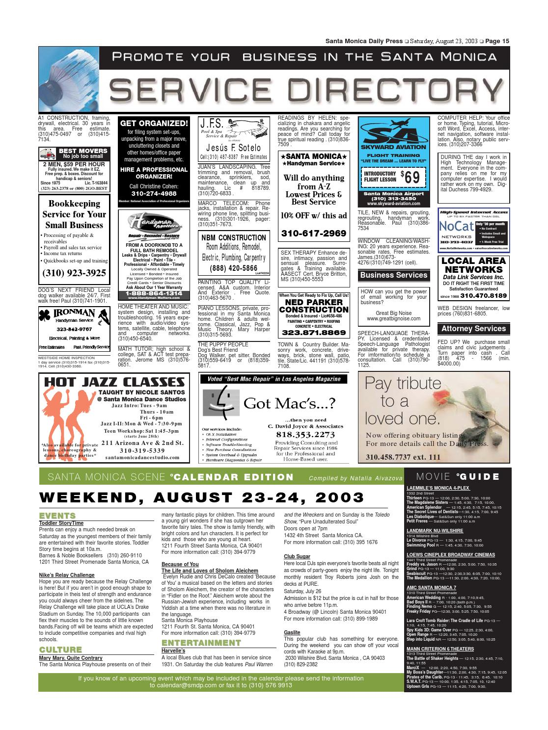 Santa Monica Daily Press August 23 2003
