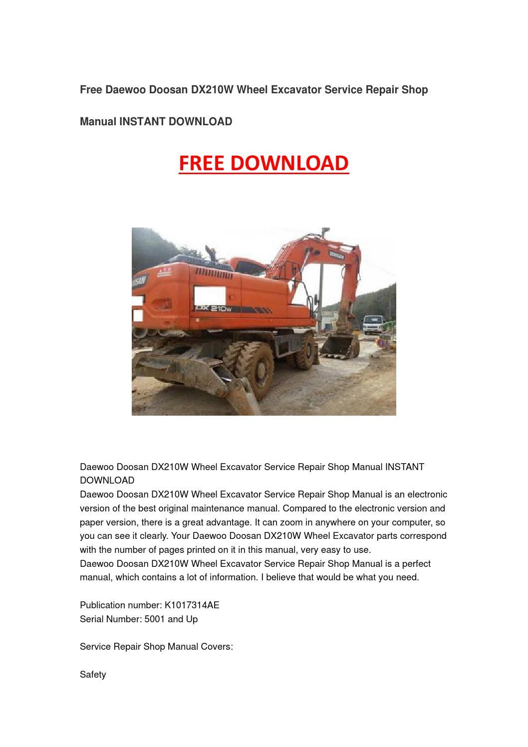 Daewoo doosan dx210w wheel excavator service repair shop manual instant  download by Lee Xiaoxiao - issuu