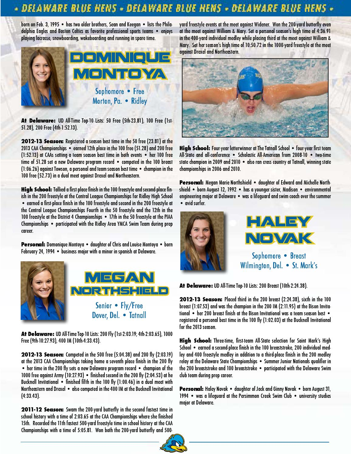2013-14 Swimming & Diving Media Guide by UDBlueHens Delaware