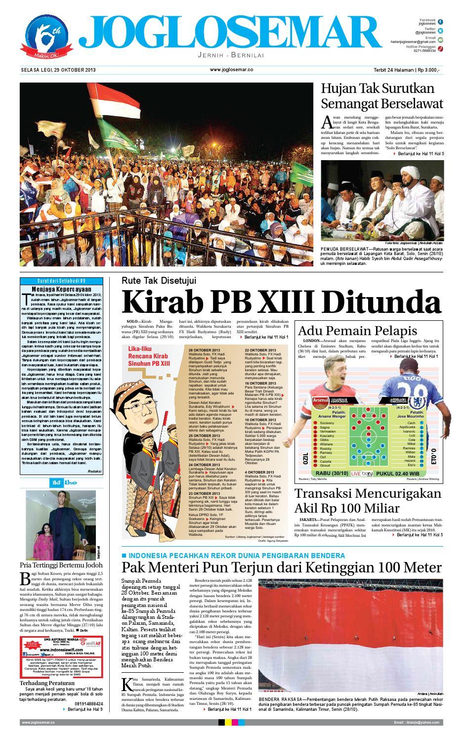 Epaper Edisi 29 Oktober 2013 By PT Joglosemar Prima Media