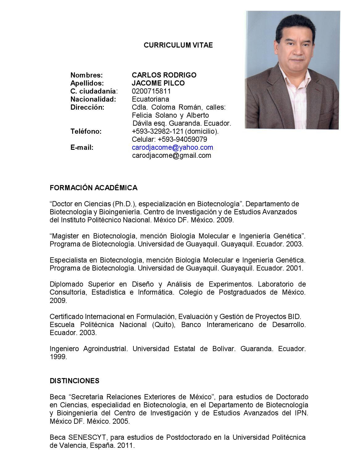 Cv carlos rodrigo jacome pilco ok by Consejo Eduacación Superior ...