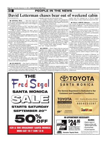 Toyota Santa Monica Service >> Santa Monica Daily Press September 25 2003 By Santa Monica Daily
