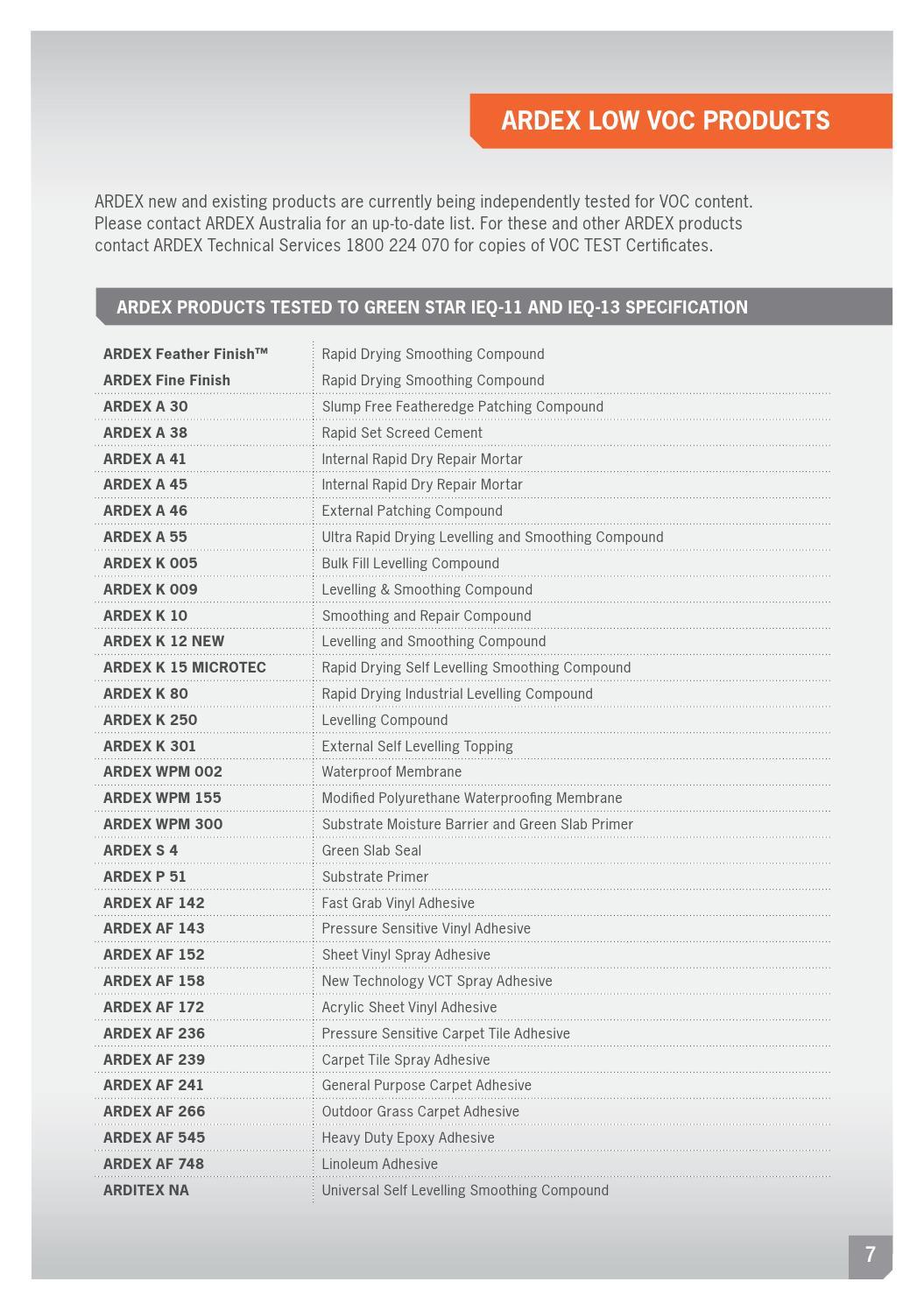 ARDEX 2013 Flooring Product Brochure by ARDEX Australia - issuu