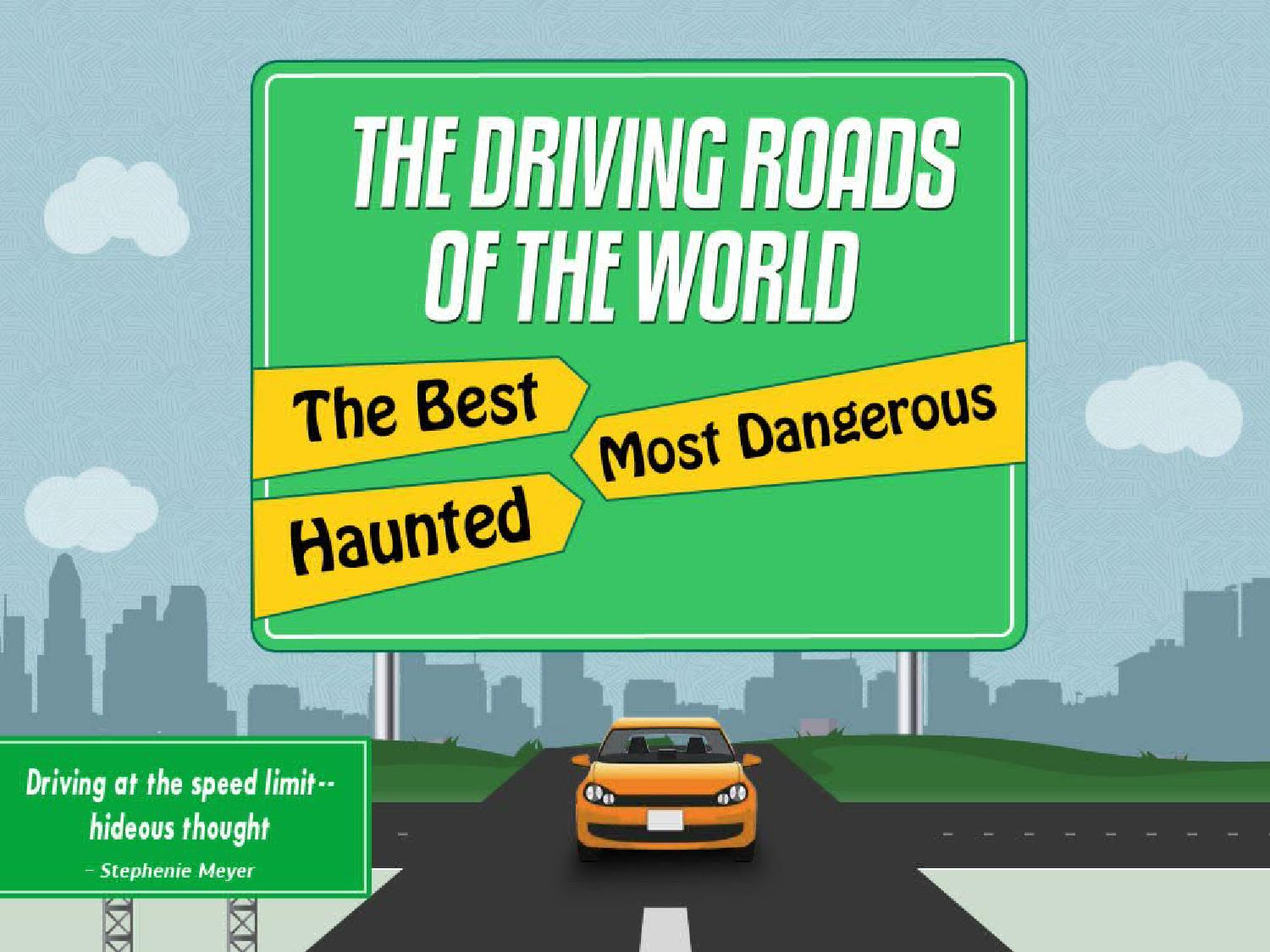 An infographic on best, most dangerous and haunted roads ...