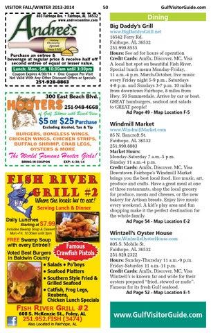 Alabama gulf coast visitor guide fall winter 2013 2014 for Fish river grill fairhope al