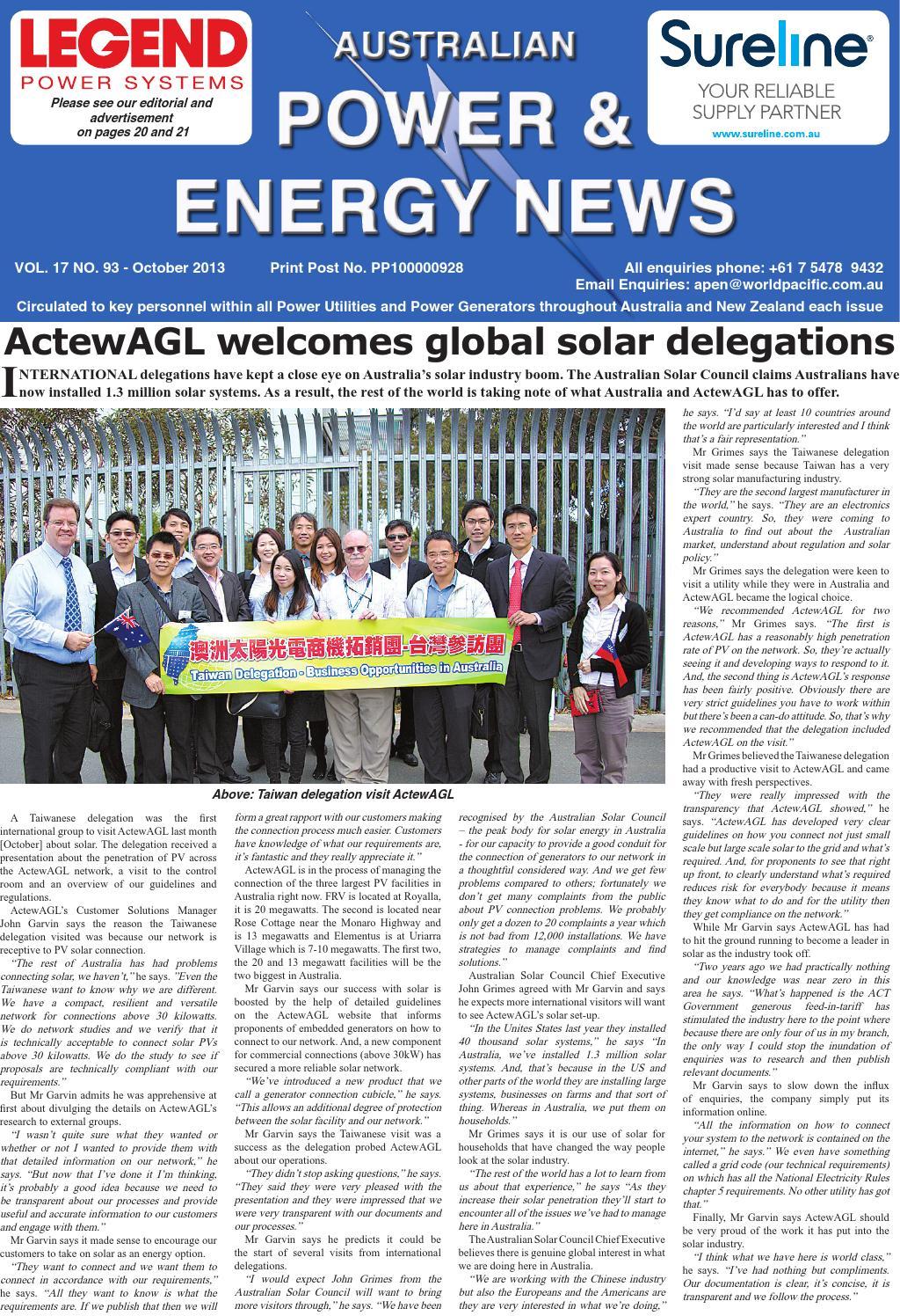 Australian Power & Energy News Vol 17 No 93 October 2013 by