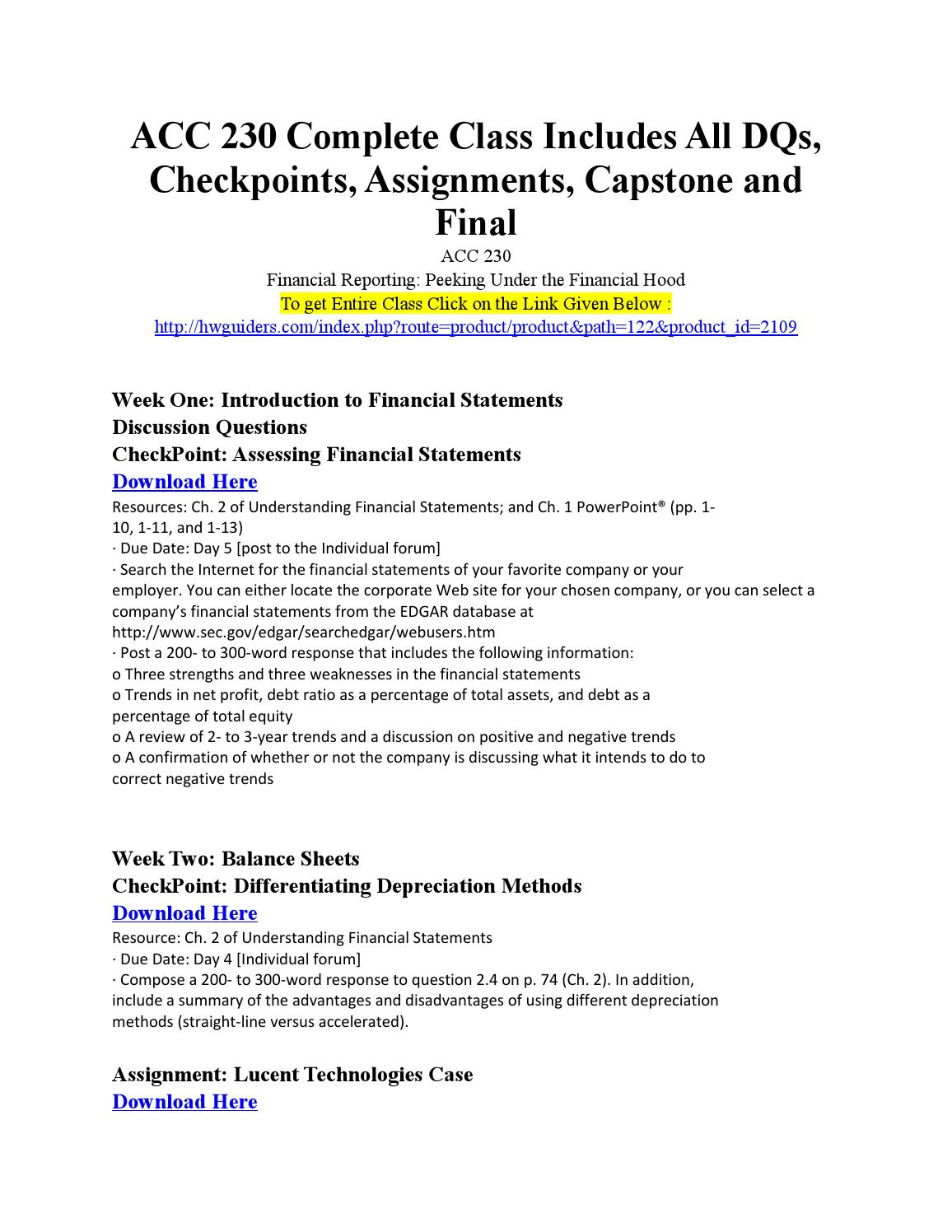 ACC 230 Week 2 Assignment Lucent Technologies Case