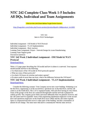 ntc 406 network week1 individual Ntc 406 entire coursefor more course tutorials visit wwwuoptutorialcomntc 406 week 1 individual assignment network requirements analysis paperntc 406 week 1 learning team assignment broadband over high-powered electrical cables paperntc 406 week 1 supporting activity read more.