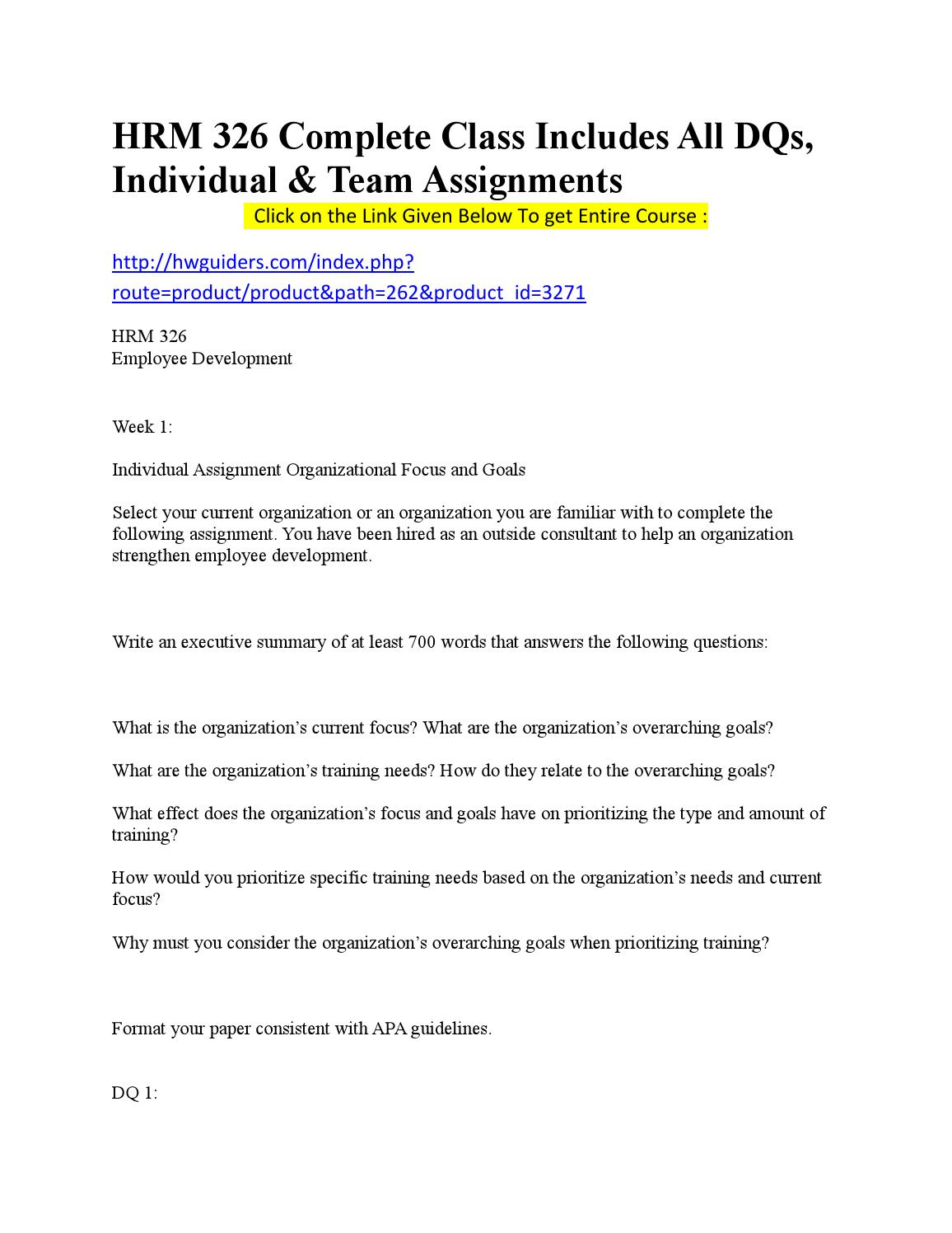 Hrm 326 week 1 individual assignment organizational focus and goals