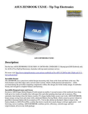 ASUS ZENBOOK UX31E RAPID STORAGE WINDOWS 7 X64 DRIVER DOWNLOAD