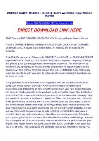 shop manual ds 450 2008
