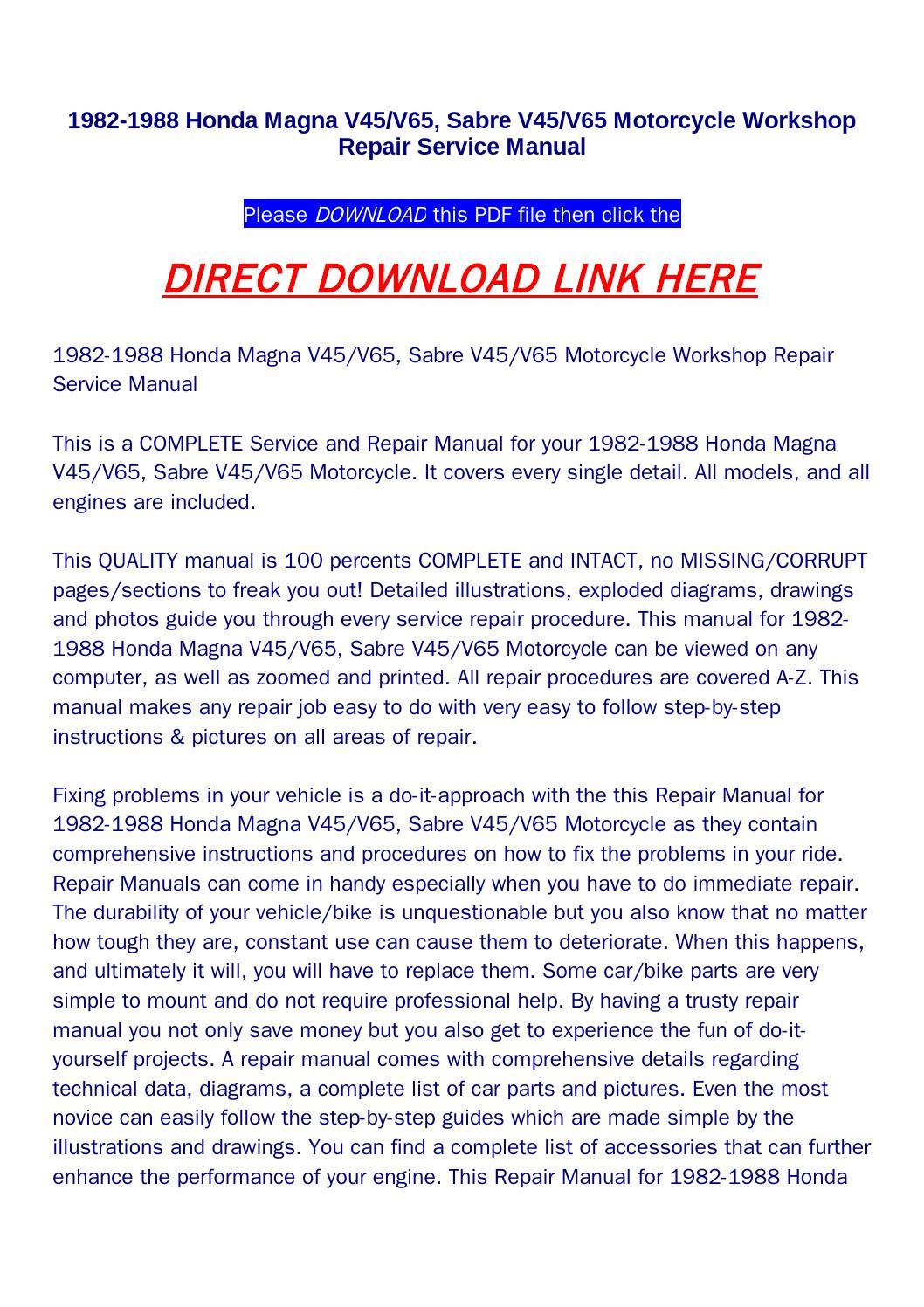 Honda v65 Magna repair manual on