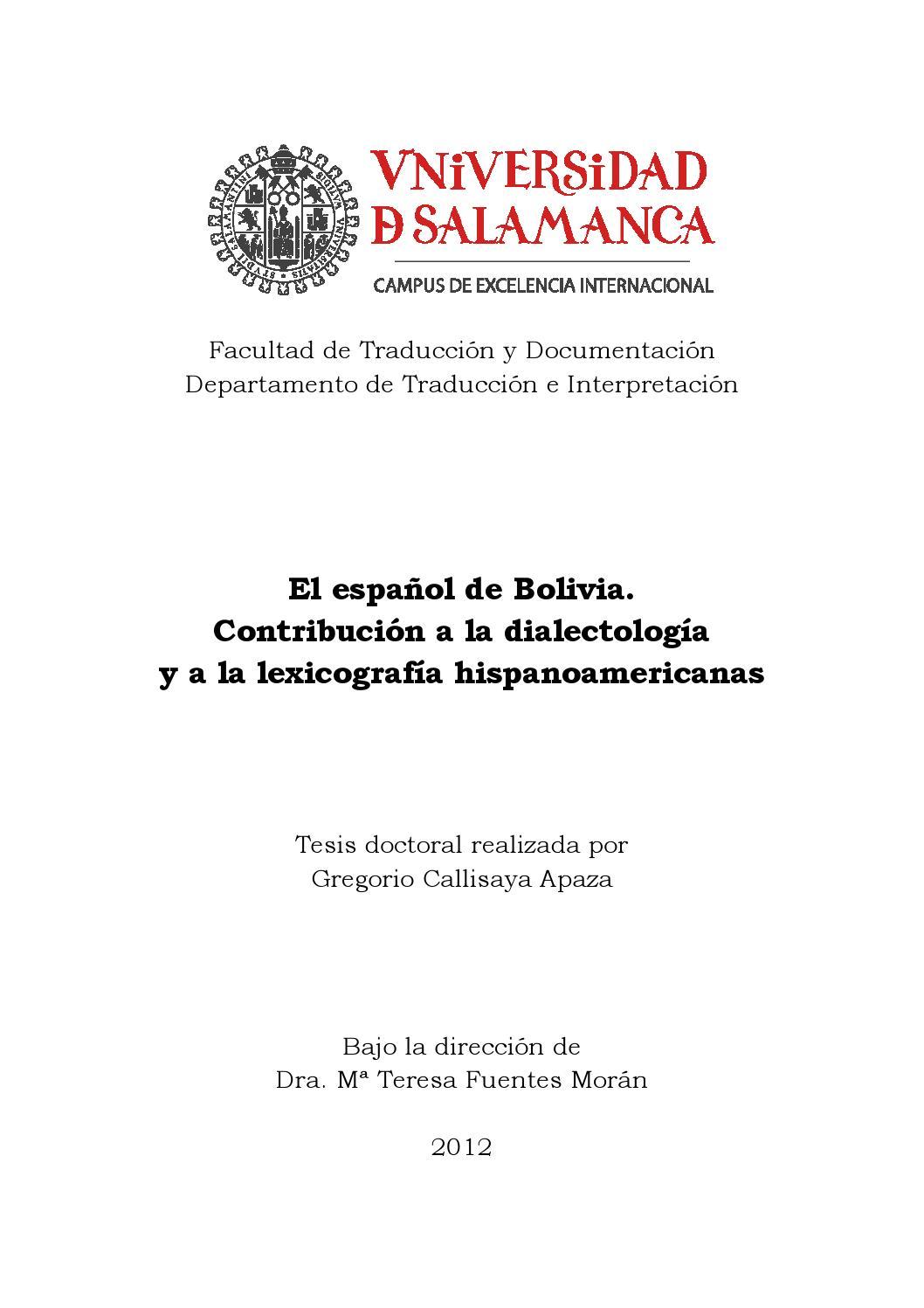 Callisaya. El español de bolivia by Marco Antonio - issuu