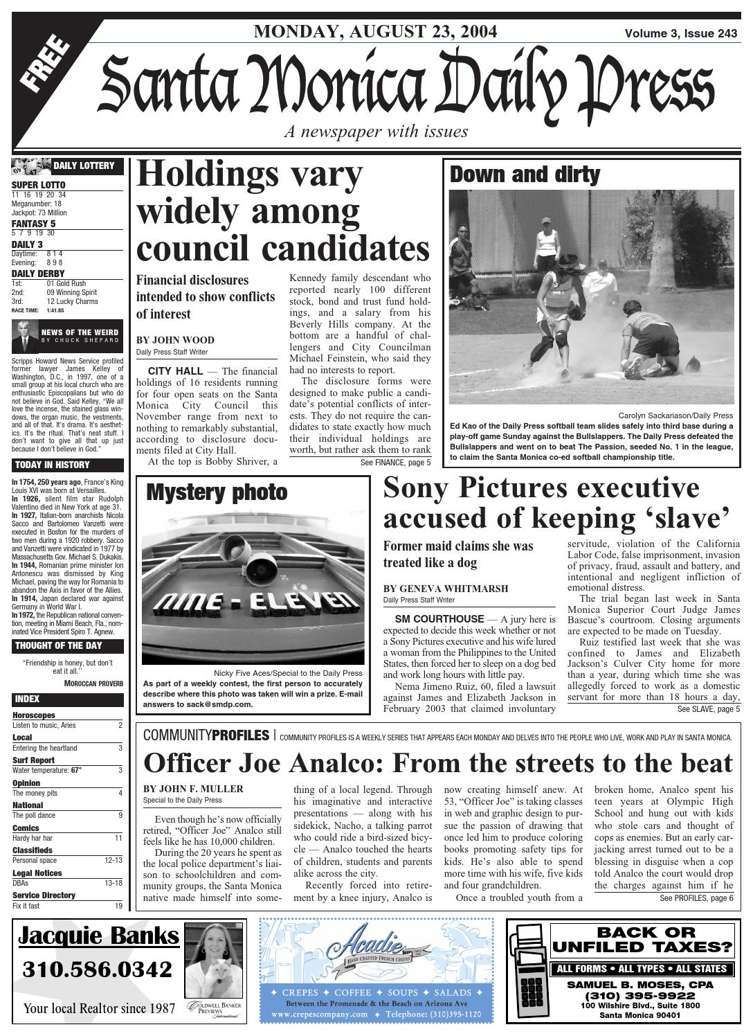 3060eefd5 Santa Monica Daily Press, August 23, 2004