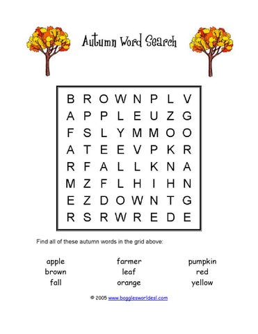 photo regarding Fall Word Search Printable called Werkblad autumn wordsearch uncomplicated by means of leerteam_engels - issuu