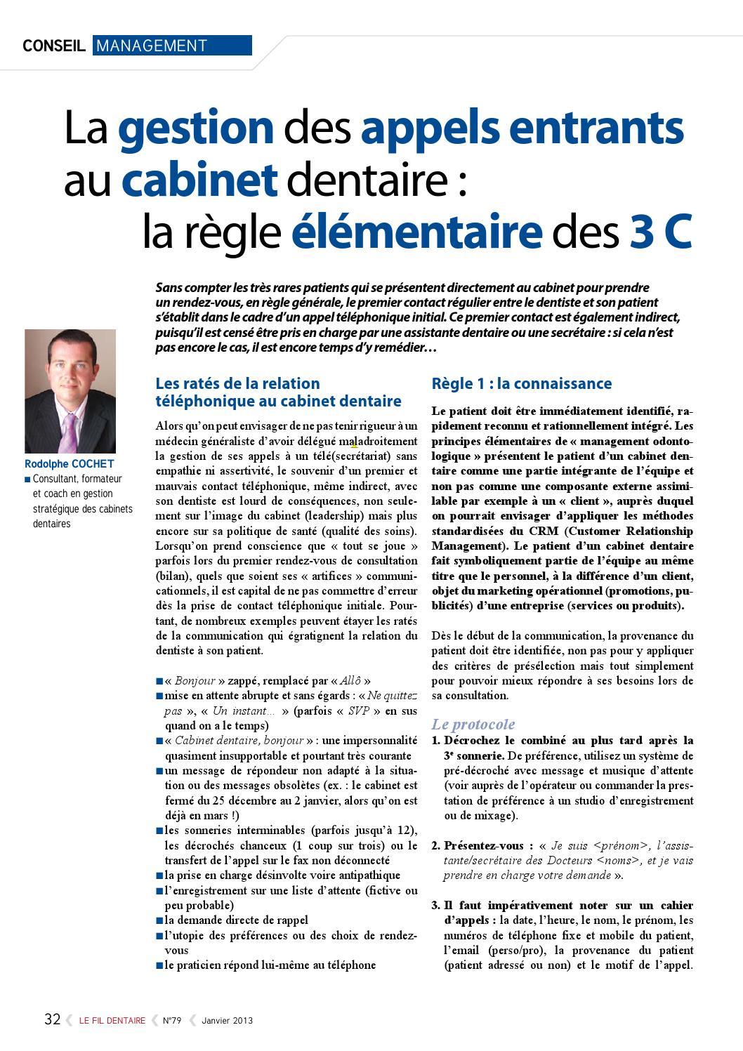 Mieux g rer son agenda au cabinet dentaire la r ception t l phonique by rodolphe cochet issuu - Application gestion cabinet dentaire ...