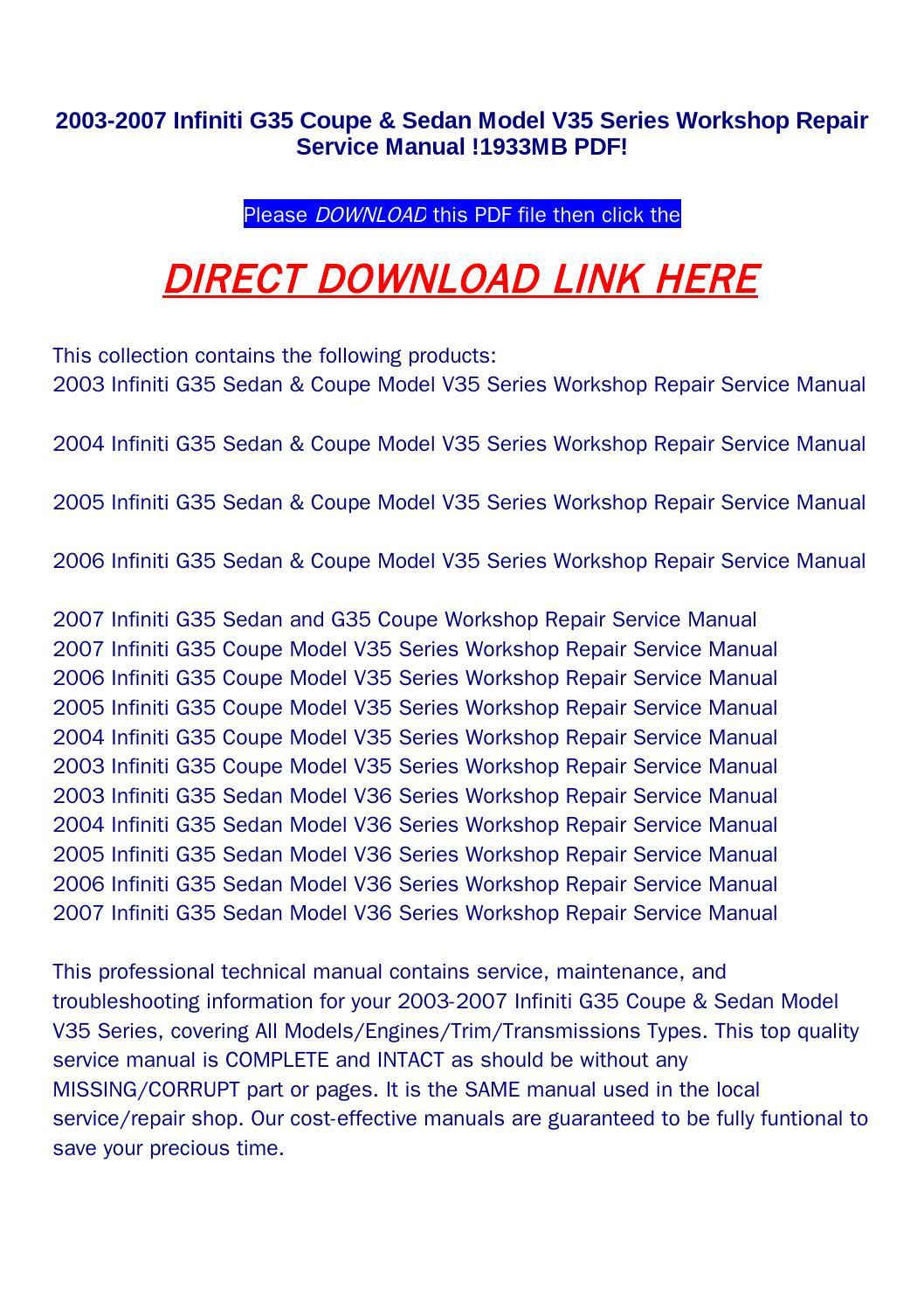 2003 2007 infiniti g35 coupe sedan model v35 series workshop rh issuu com 2006 Infiniti G35 Manual Book 2006 Infiniti G35 Custom