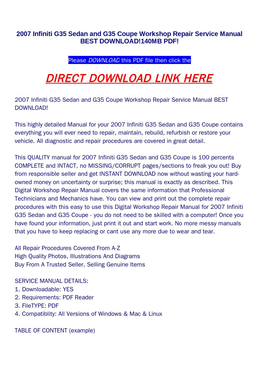 2007 infiniti g35 sedan and g35 coupe workshop repair service manual best  download!140mb pdf! by returnqqv - issuu