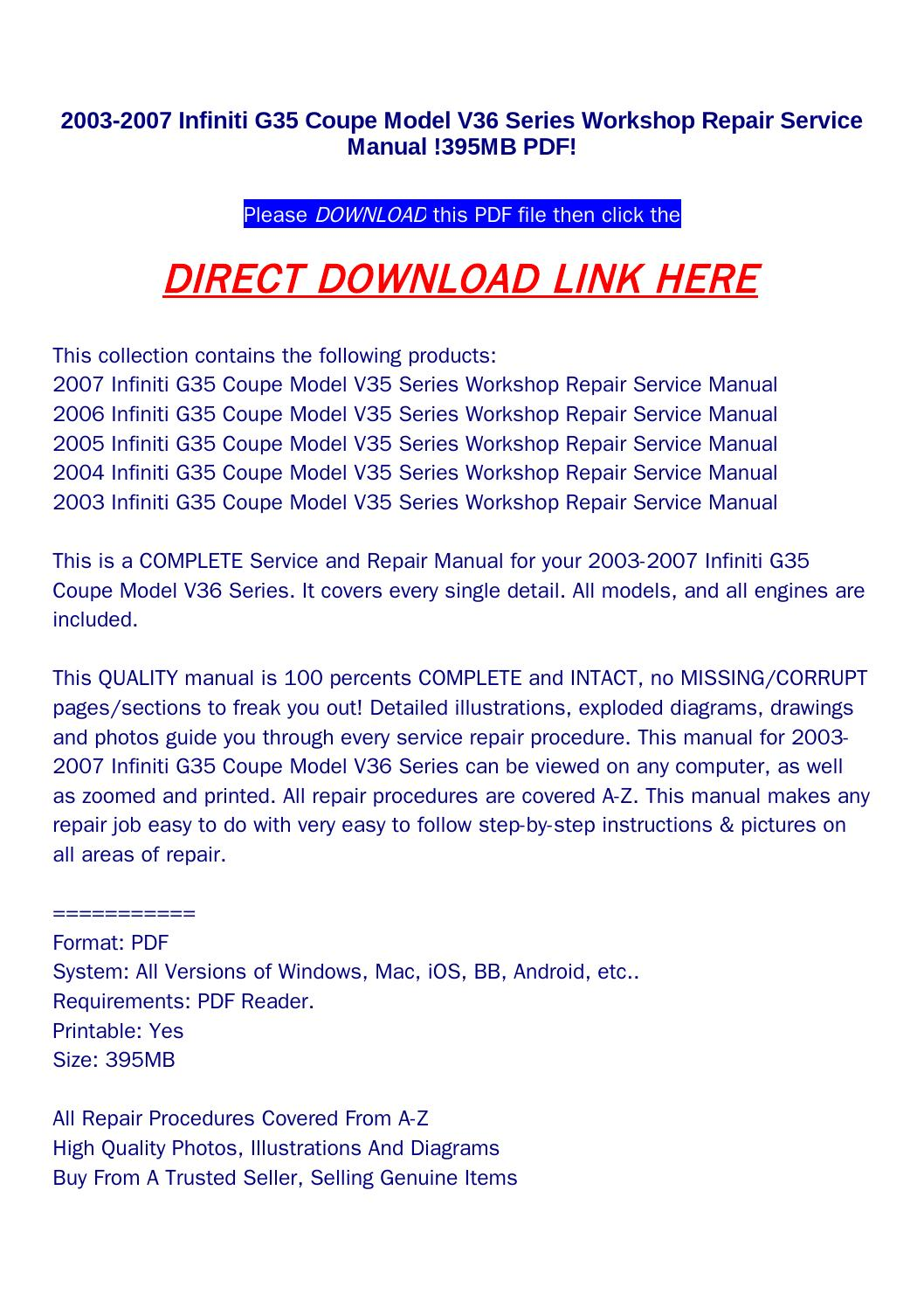 2003 2007 infiniti g35 coupe model v36 series workshop repair service manual  !395mb pdf! by returnqqv - issuu
