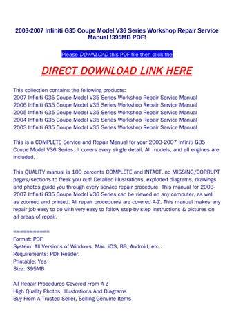 2003 2007 infiniti g35 coupe model v36 series workshop repair rh issuu com 2005 G35 Coupe Review 2005 infiniti g35 coupe service manual pdf
