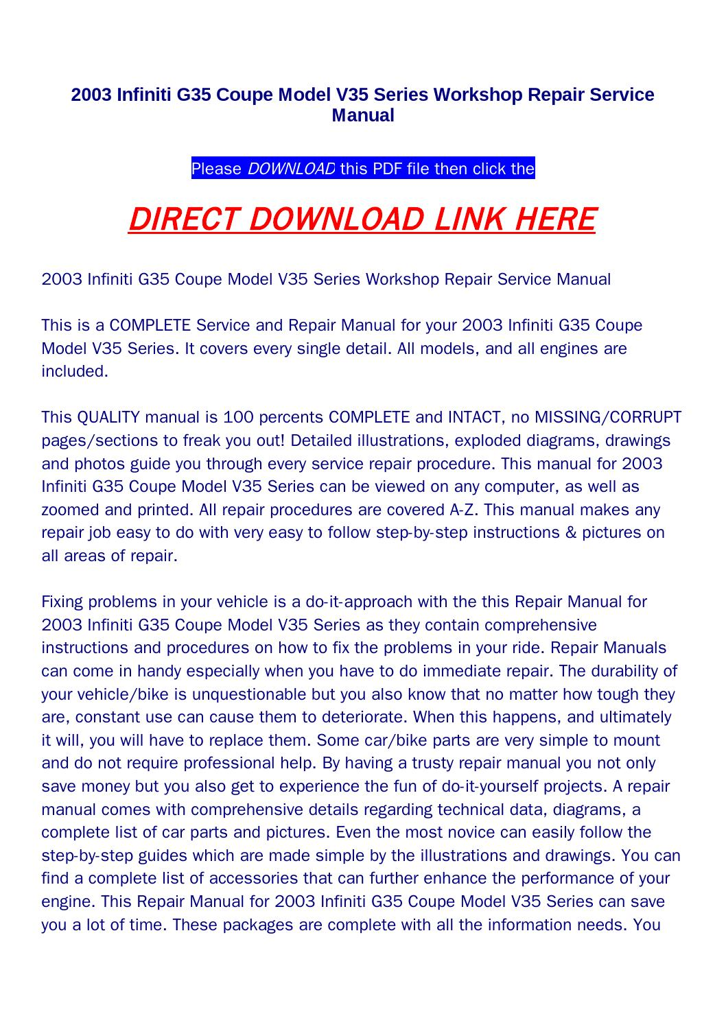 2003 infiniti g35 coupe model v35 series workshop repair service manual by  returnqqv - issuu
