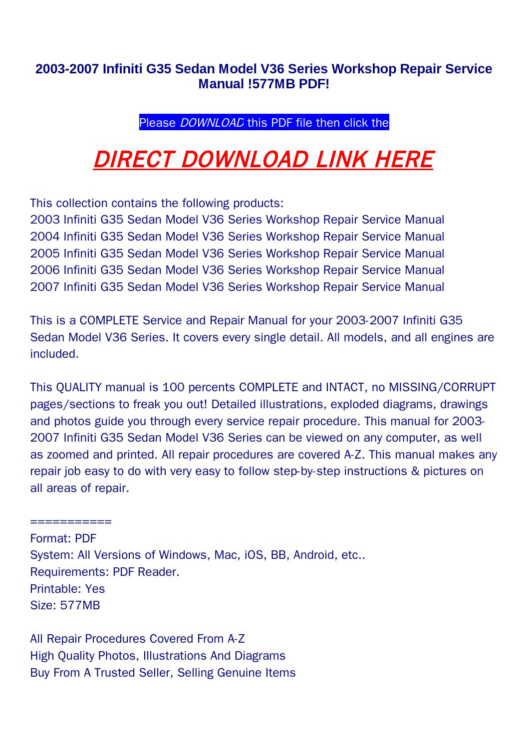 2003 2007 infiniti g35 sedan model v36 series workshop repair service manual  !577mb pdf! by returnqqv - issuu