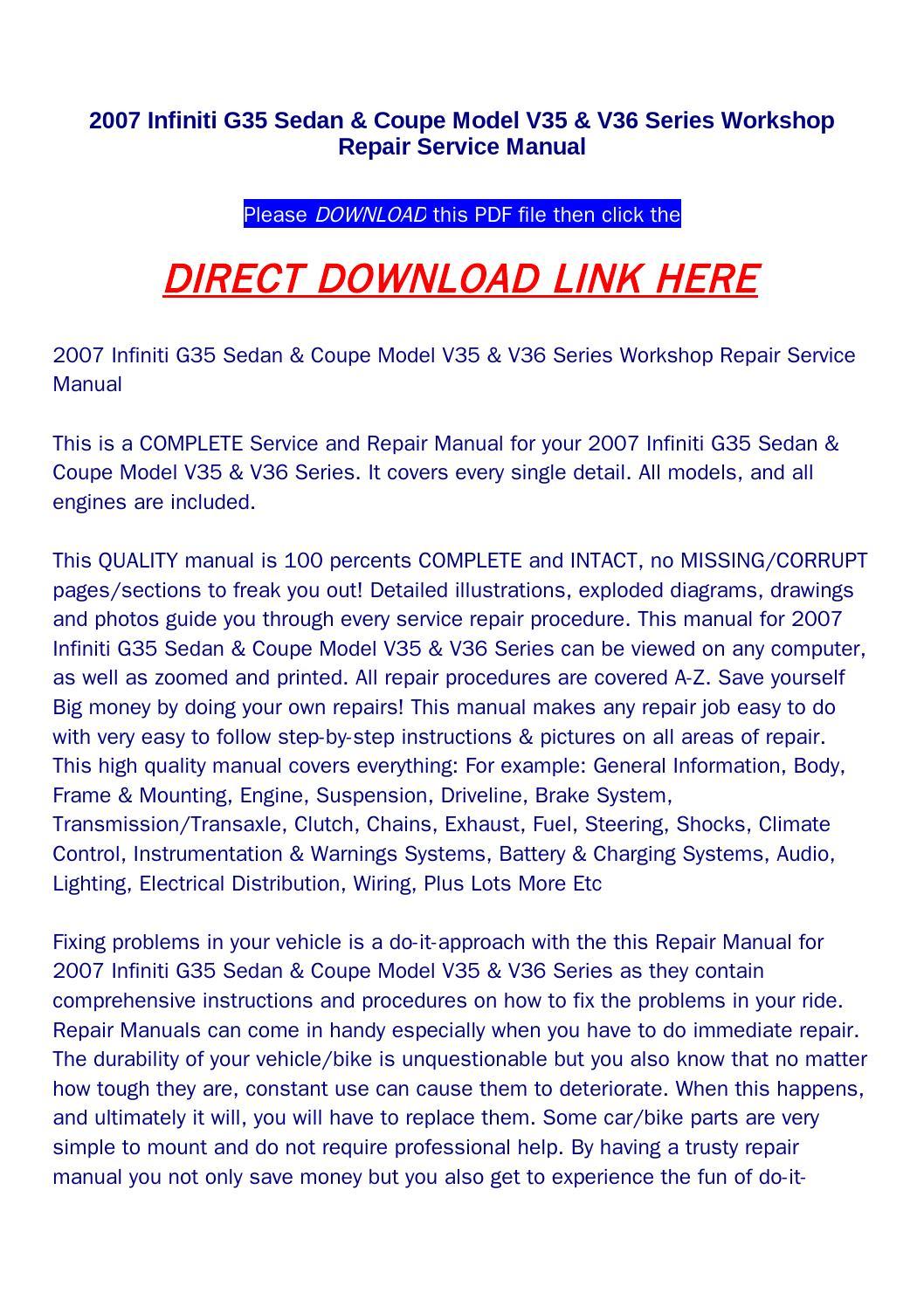 2007 infiniti g35 sedan & coupe model v35 & v36 series workshop repair  service manual by returnqqv - issuu
